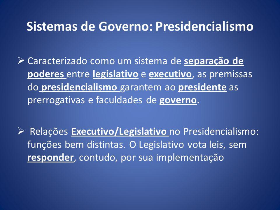 Sistemas de Governo: Presidencialismo Caracterizado como um sistema de separação de poderes entre legislativo e executivo, as premissas do presidencia