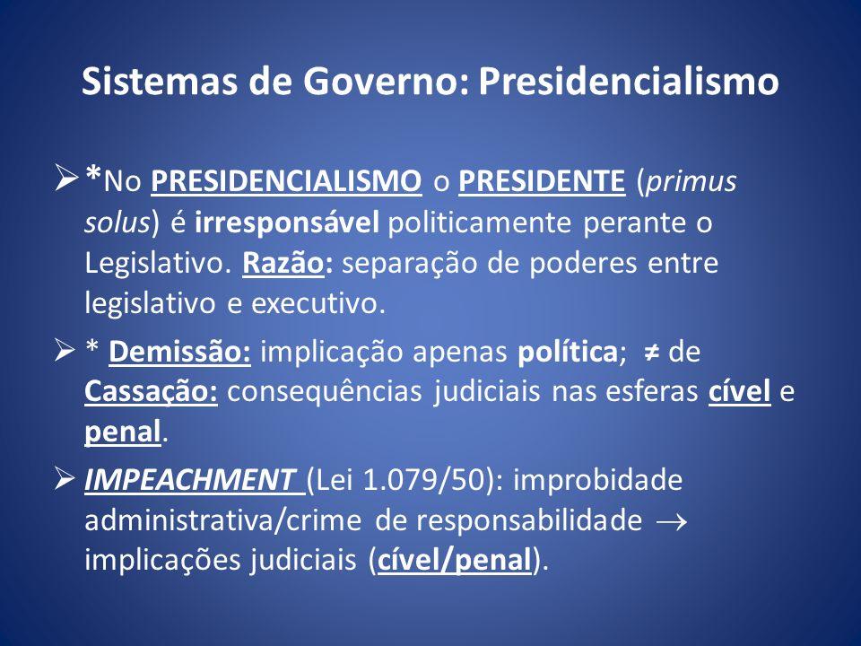 Sistemas de Governo: Presidencialismo * No PRESIDENCIALISMO o PRESIDENTE (primus solus) é irresponsável politicamente perante o Legislativo. Razão: se