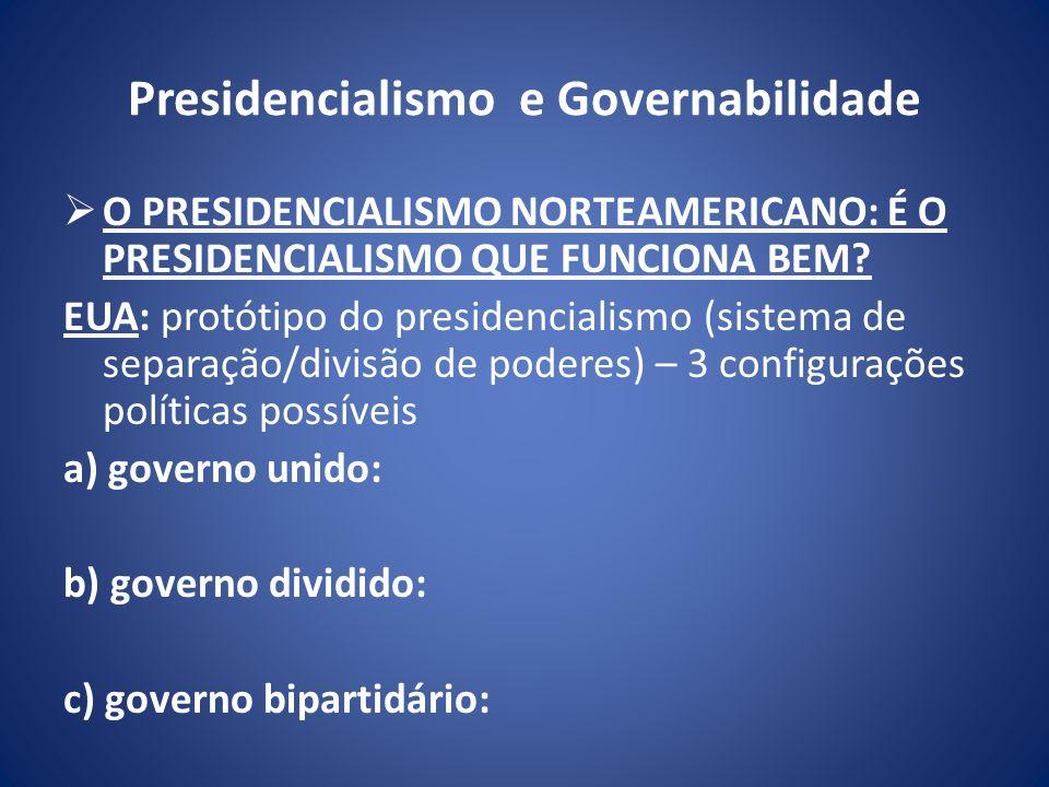 Presidencialismo e Governabilidade O PRESIDENCIALISMO NORTEAMERICANO: É O PRESIDENCIALISMO QUE FUNCIONA BEM? EUA: protótipo do presidencialismo (siste
