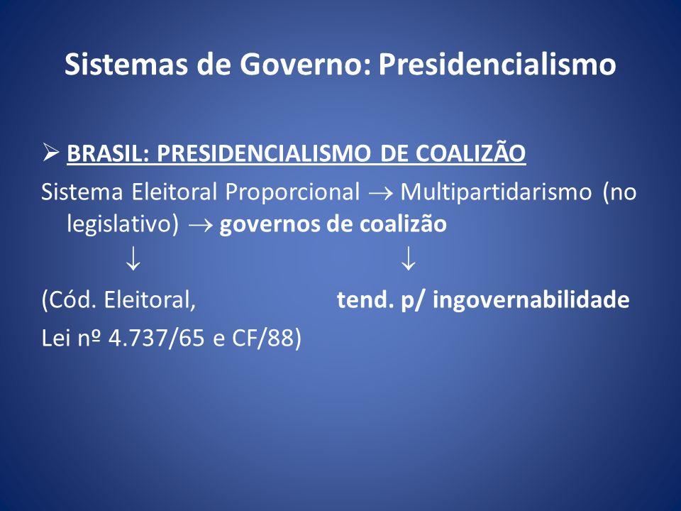 Sistemas de Governo: Presidencialismo BRASIL: PRESIDENCIALISMO DE COALIZÃO Sistema Eleitoral Proporcional Multipartidarismo (no legislativo) governos