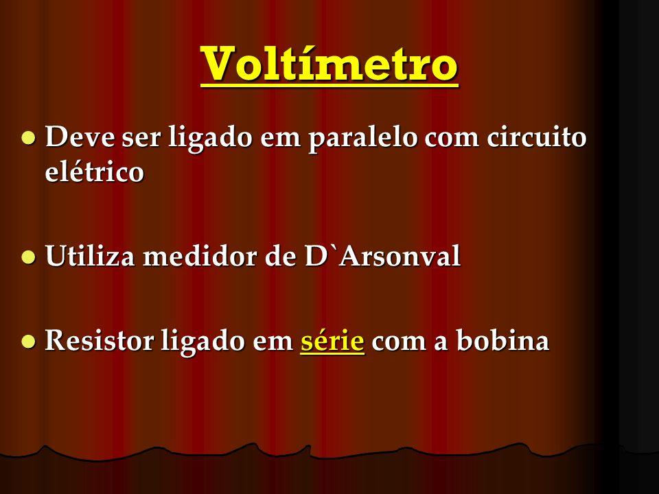 Voltímetro Deve ser ligado em paralelo com circuito elétrico Deve ser ligado em paralelo com circuito elétrico Utiliza medidor de D`Arsonval Utiliza m