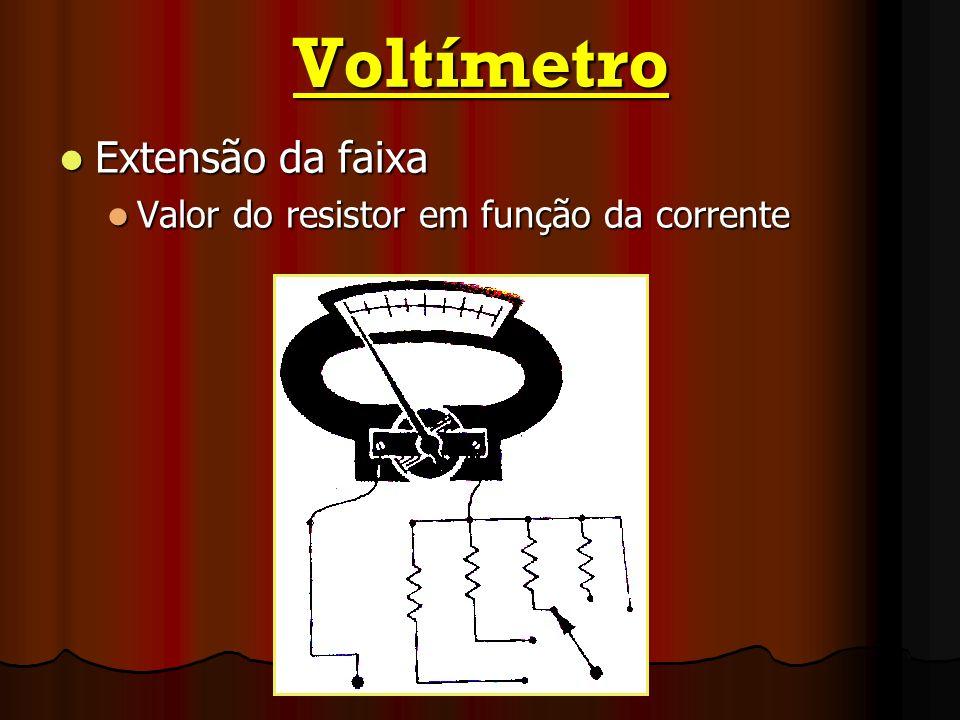 Voltímetro Extensão da faixa Extensão da faixa Valor do resistor em função da corrente Valor do resistor em função da corrente