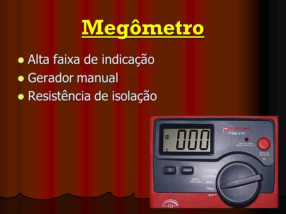 Megômetro Alta faixa de indicação Alta faixa de indicação Gerador manual Gerador manual Resistência de isolação Resistência de isolação