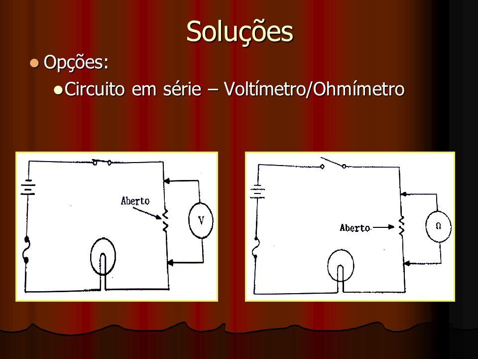 Soluções Opções: Opções: Circuito em série – Voltímetro/Ohmímetro Circuito em série – Voltímetro/Ohmímetro