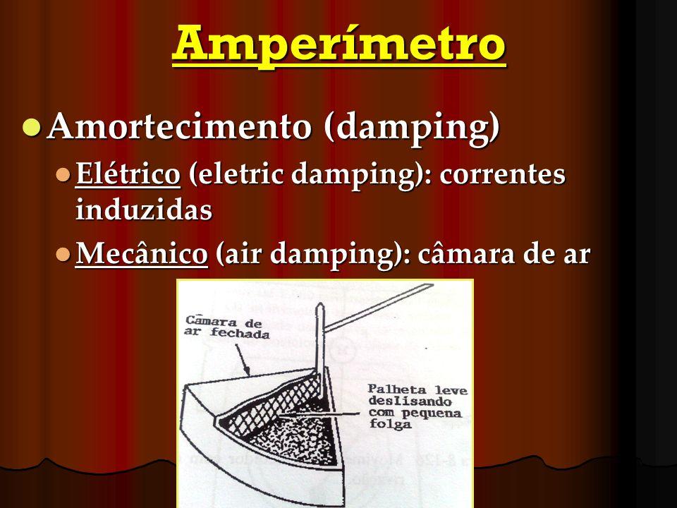 Amperímetro Amortecimento (damping) Amortecimento (damping) Elétrico (eletric damping): correntes induzidas Elétrico (eletric damping): correntes indu