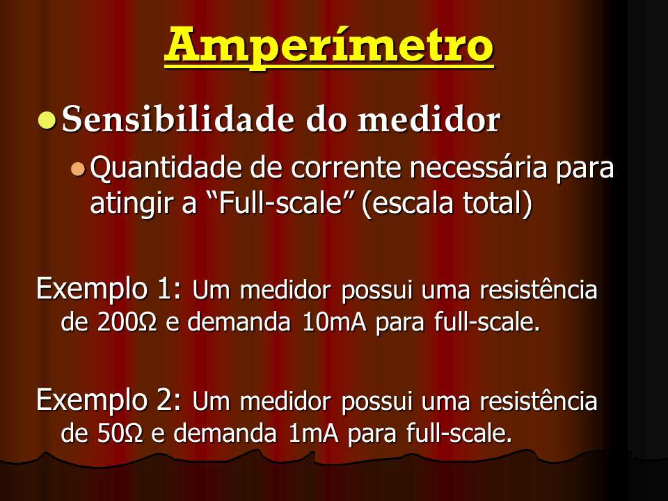 Amperímetro Sensibilidade do medidor Quantidade de corrente necessária para atingir a Full-scale (escala total) Exemplo 1: Um medidor possui uma resis