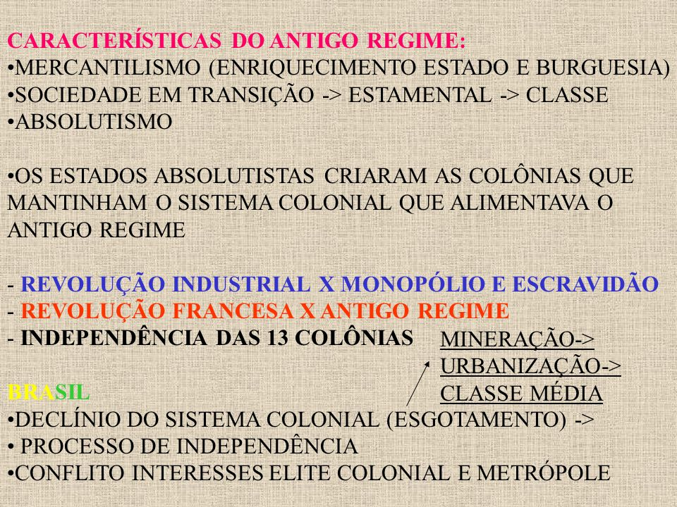 CARACTERÍSTICAS DO ANTIGO REGIME: MERCANTILISMO (ENRIQUECIMENTO ESTADO E BURGUESIA) SOCIEDADE EM TRANSIÇÃO -> ESTAMENTAL -> CLASSE ABSOLUTISMO OS ESTA