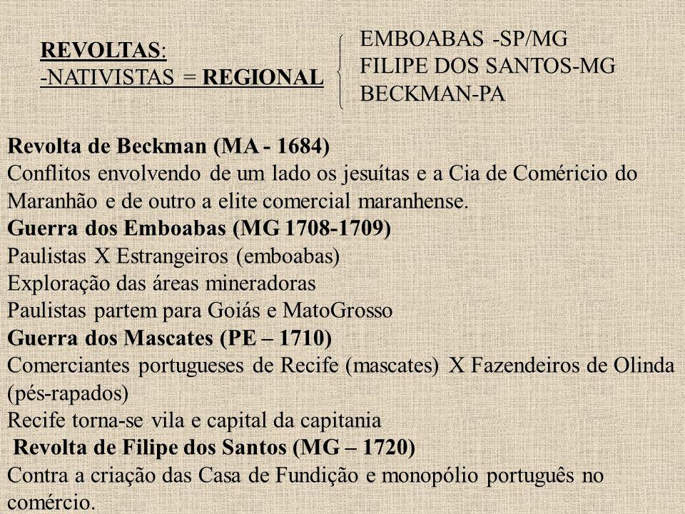 REVOLTAS: -NATIVISTAS = REGIONAL EMBOABAS -SP/MG FILIPE DOS SANTOS-MG BECKMAN-PA Revolta de Beckman (MA - 1684) Conflitos envolvendo de um lado os jes