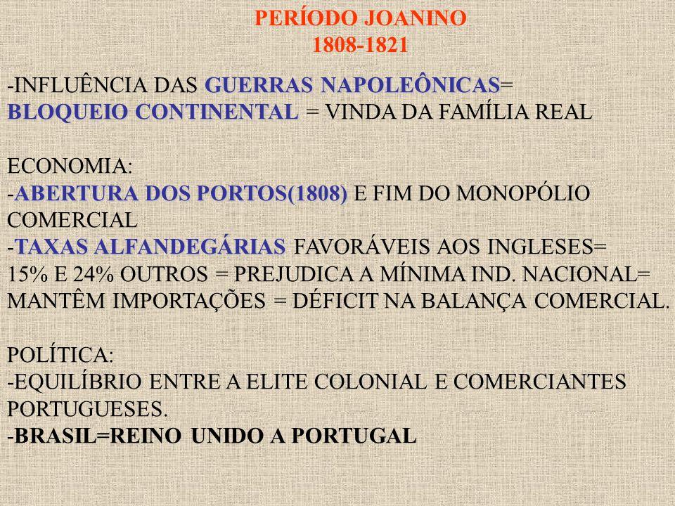 PERÍODO JOANINO 1808-1821 GUERRAS NAPOLEÔNICAS -INFLUÊNCIA DAS GUERRAS NAPOLEÔNICAS= BLOQUEIO CONTINENTAL BLOQUEIO CONTINENTAL = VINDA DA FAMÍLIA REAL