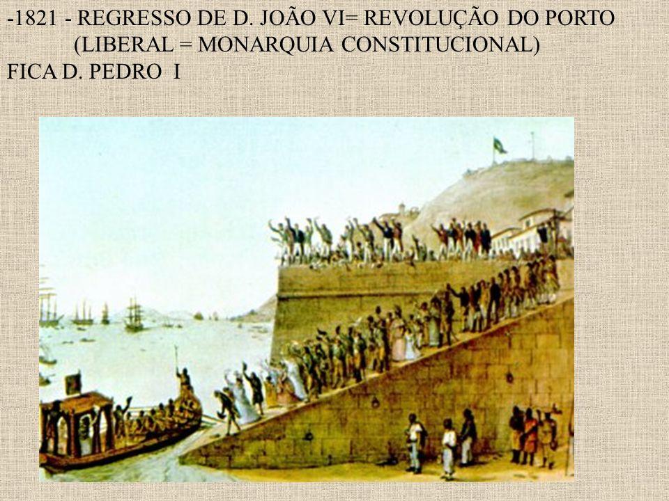 -1821 - REGRESSO DE D. JOÃO VI= REVOLUÇÃO DO PORTO (LIBERAL = MONARQUIA CONSTITUCIONAL) FICA D. PEDRO I