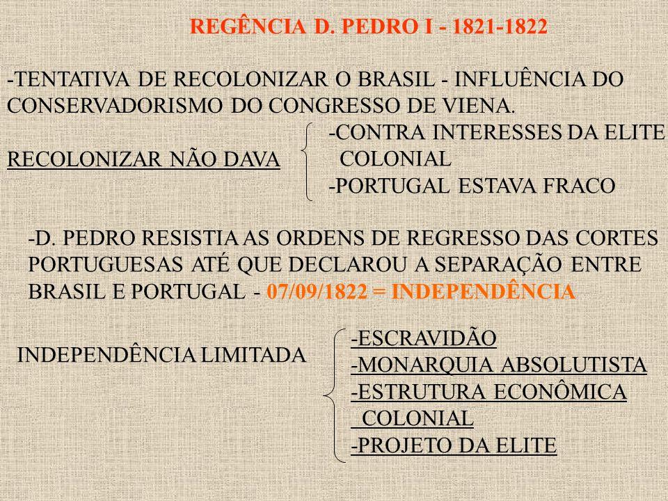 REGÊNCIA D. PEDRO I - 1821-1822 -TENTATIVA DE RECOLONIZAR O BRASIL - INFLUÊNCIA DO CONSERVADORISMO DO CONGRESSO DE VIENA. RECOLONIZAR NÃO DAVA -CONTRA