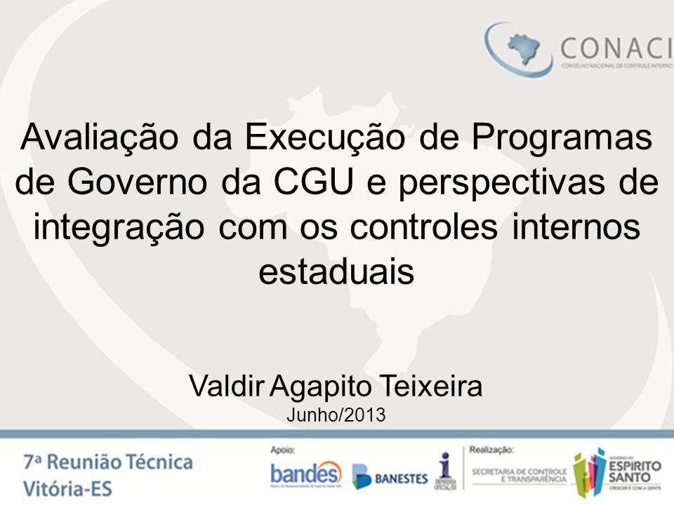 Avaliação da Execução de Programas de Governo da CGU e perspectivas de integração com os controles internos estaduais Valdir Agapito Teixeira Junho/20