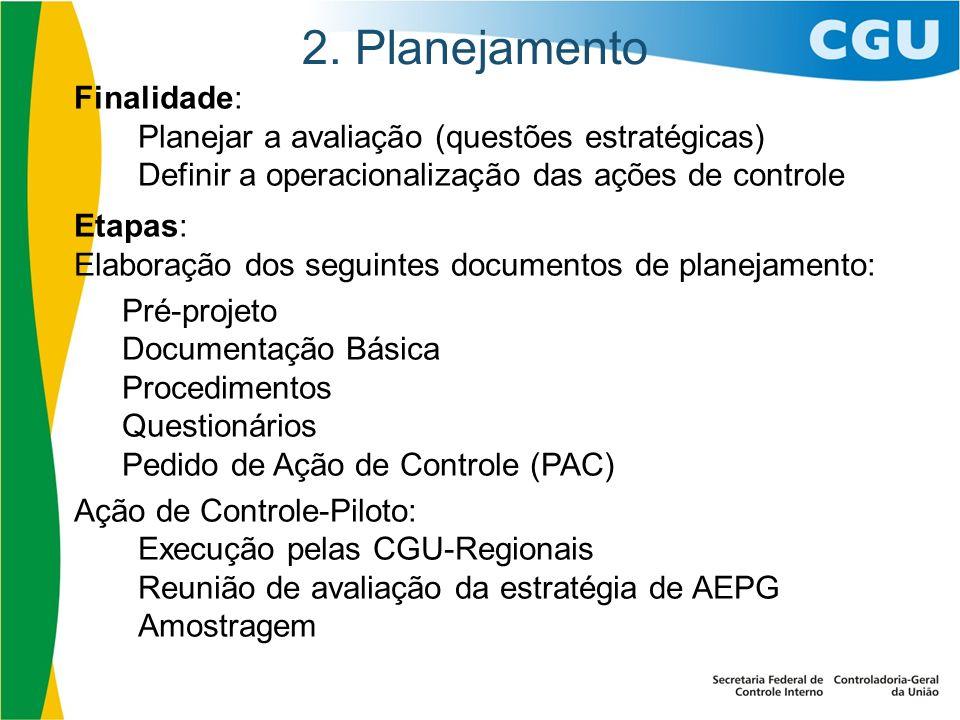 2. Planejamento Finalidade: Planejar a avaliação (questões estratégicas) Definir a operacionalização das ações de controle Etapas: Elaboração dos segu