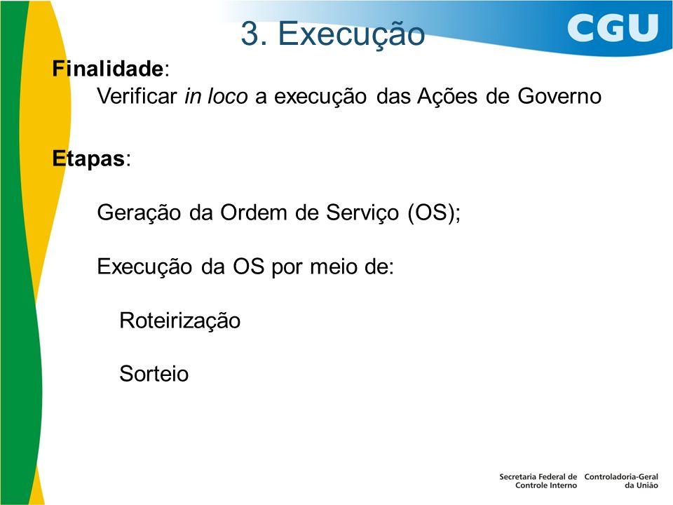 3. Execução Finalidade: Verificar in loco a execução das Ações de Governo Etapas: Geração da Ordem de Serviço (OS); Execução da OS por meio de: Roteir