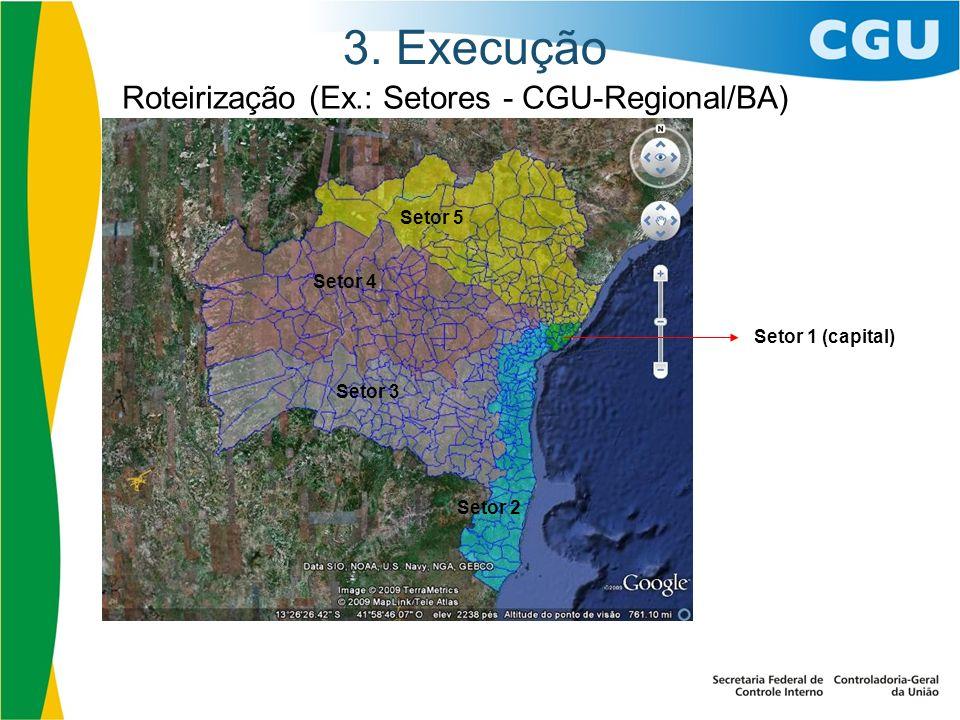 3. Execução Roteirização (Ex.: Setores - CGU-Regional/BA) Setor 1 (capital) Setor 5 Setor 4 Setor 3 Setor 2