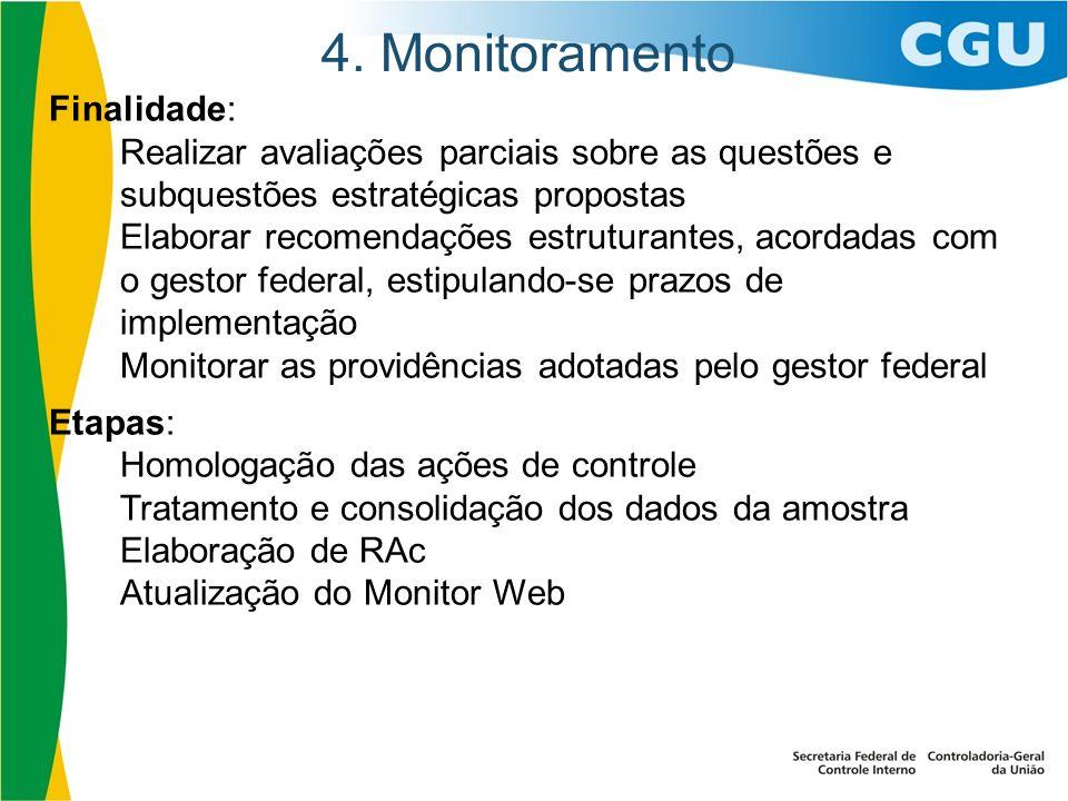 4. Monitoramento Finalidade: Realizar avaliações parciais sobre as questões e subquestões estratégicas propostas Elaborar recomendações estruturantes,