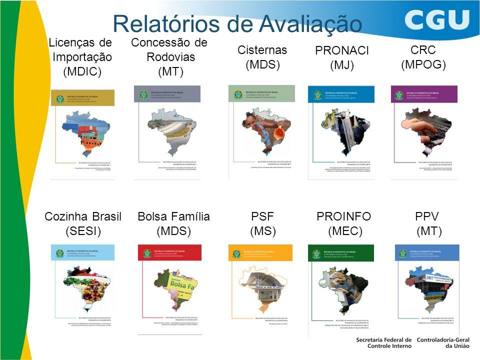 Relatórios de Avaliação PROINFO (MEC) Licenças de Importação (MDIC) Concessão de Rodovias (MT) Cisternas (MDS) PRONACI (MJ) CRC (MPOG) Cozinha Brasil