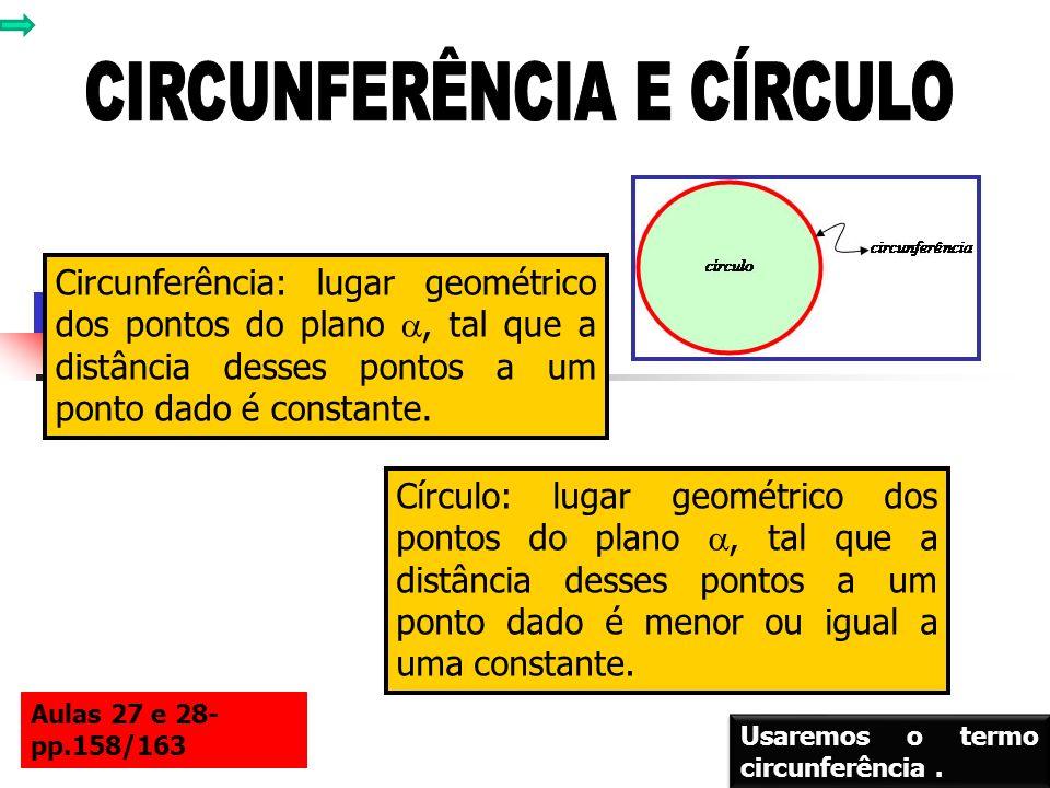 Circunferência: lugar geométrico dos pontos do plano, tal que a distância desses pontos a um ponto dado é constante. Círculo: lugar geométrico dos pon