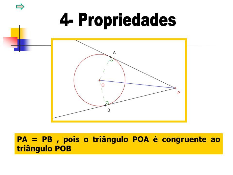 PA = PB, pois o triângulo POA é congruente ao triângulo POB