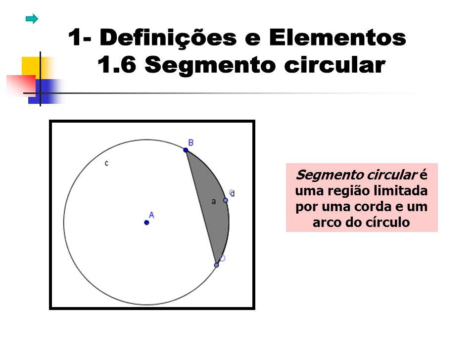 Segmento circular é uma região limitada por uma corda e um arco do círculo