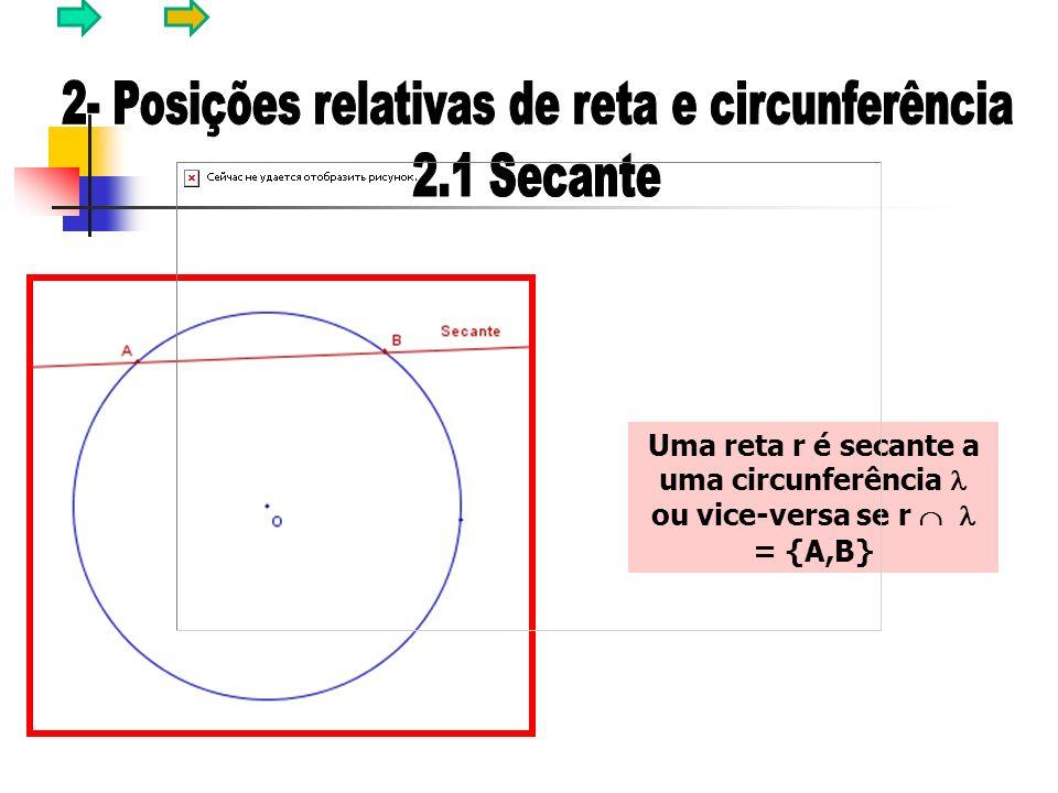 Uma reta r é secante a uma circunferência ou vice-versa se r = {A,B}