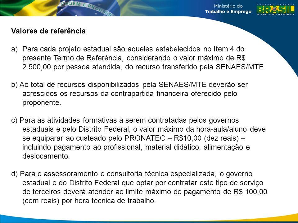 Valores de referência a)Para cada projeto estadual são aqueles estabelecidos no Item 4 do presente Termo de Referência, considerando o valor máximo de R$ 2.500,00 por pessoa atendida, do recurso transferido pela SENAES/MTE.