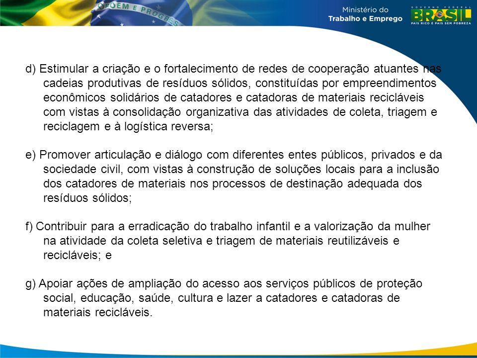 d) Estimular a criação e o fortalecimento de redes de cooperação atuantes nas cadeias produtivas de resíduos sólidos, constituídas por empreendimentos