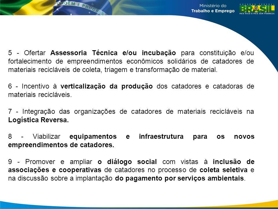 5 - Ofertar Assessoria Técnica e/ou incubação para constituição e/ou fortalecimento de empreendimentos econômicos solidários de catadores de materiais