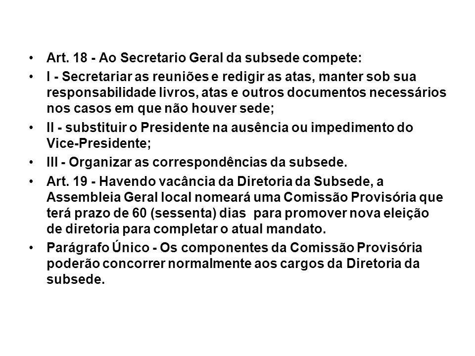 Art. 18 - Ao Secretario Geral da subsede compete: I - Secretariar as reuniões e redigir as atas, manter sob sua responsabilidade livros, atas e outros