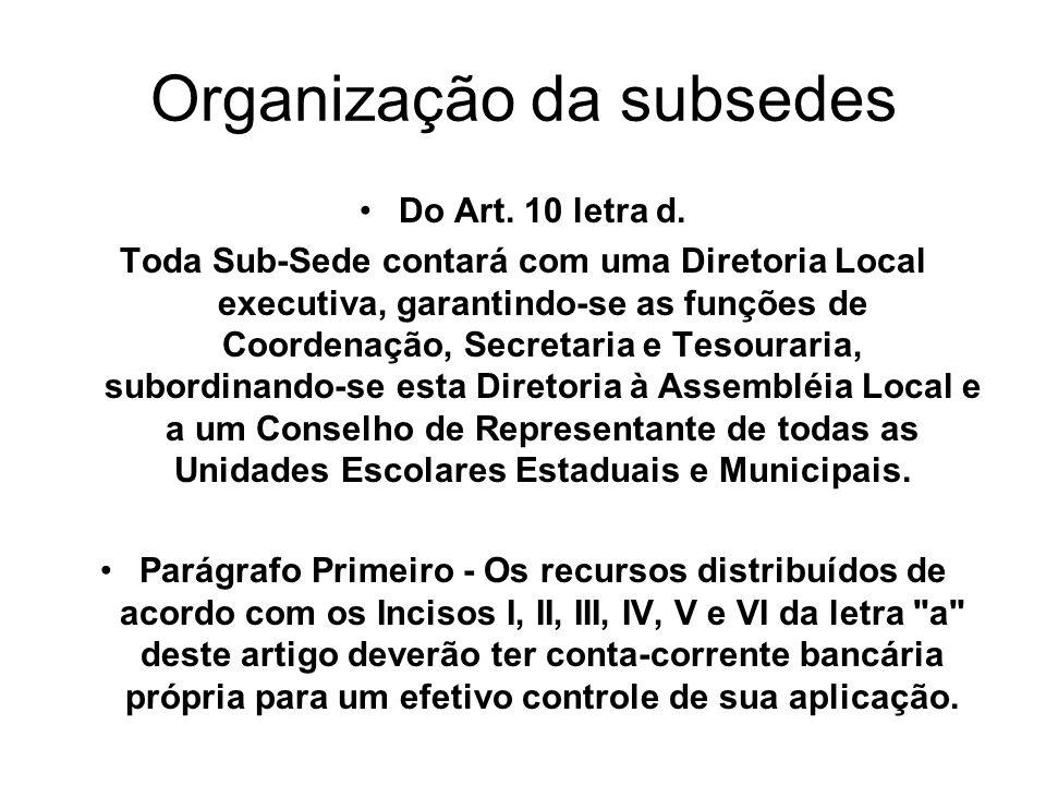 Organização da subsedes Do Art. 10 letra d. Toda Sub-Sede contará com uma Diretoria Local executiva, garantindo-se as funções de Coordenação, Secretar