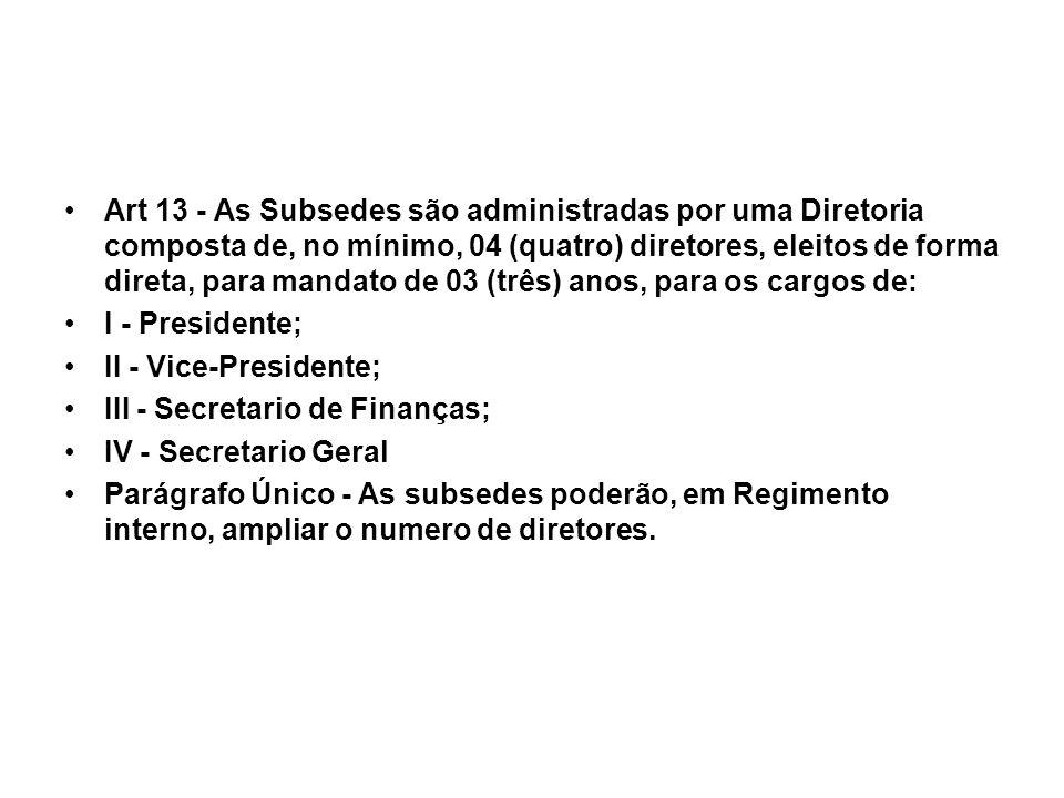 Art 13 - As Subsedes são administradas por uma Diretoria composta de, no mínimo, 04 (quatro) diretores, eleitos de forma direta, para mandato de 03 (t