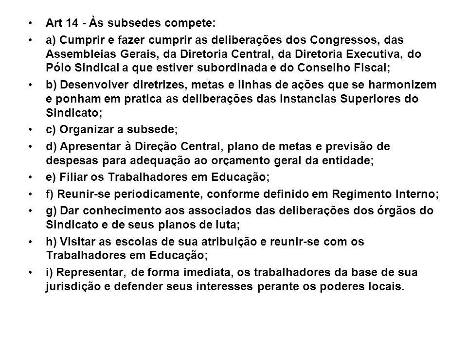Art 14 - Às subsedes compete: a) Cumprir e fazer cumprir as deliberações dos Congressos, das Assembleias Gerais, da Diretoria Central, da Diretoria Ex