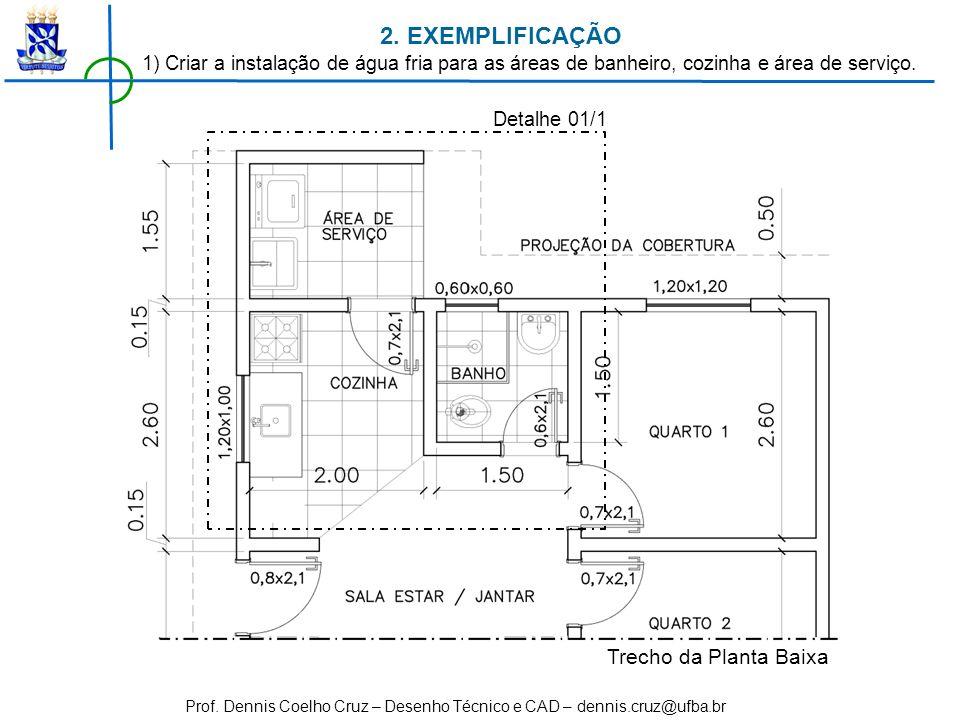 Prof. Dennis Coelho Cruz – Desenho Técnico e CAD – dennis.cruz@ufba.br Trecho da Planta Baixa 1) Criar a instalação de água fria para as áreas de banh