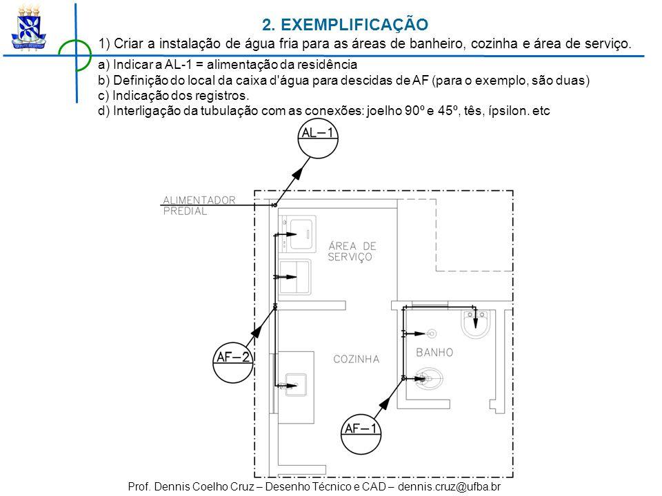 Prof. Dennis Coelho Cruz – Desenho Técnico e CAD – dennis.cruz@ufba.br 1) Criar a instalação de água fria para as áreas de banheiro, cozinha e área de