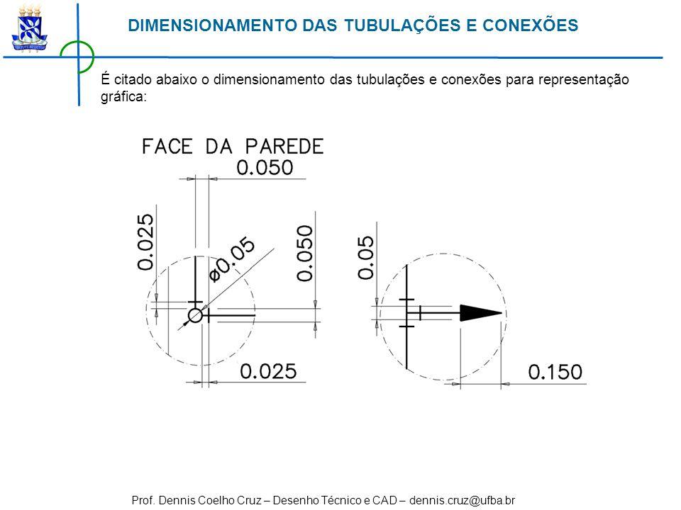 Prof. Dennis Coelho Cruz – Desenho Técnico e CAD – dennis.cruz@ufba.br É citado abaixo o dimensionamento das tubulações e conexões para representação