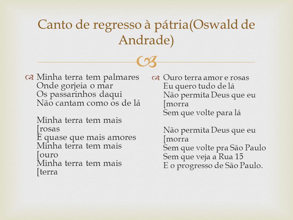 Canto de regresso à pátria(Oswald de Andrade) Minha terra tem palmares Onde gorjeia o mar Os passarinhos daqui Não cantam como os de lá Minha terra te