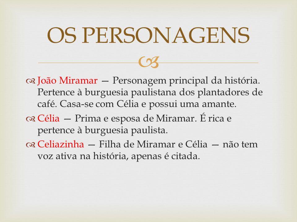 João Miramar Personagem principal da história. Pertence à burguesia paulistana dos plantadores de café. Casa-se com Célia e possui uma amante. Célia P