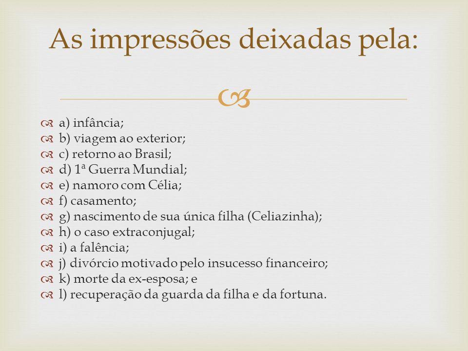 a) infância; b) viagem ao exterior; c) retorno ao Brasil; d) 1ª Guerra Mundial; e) namoro com Célia; f) casamento; g) nascimento de sua única filha (C