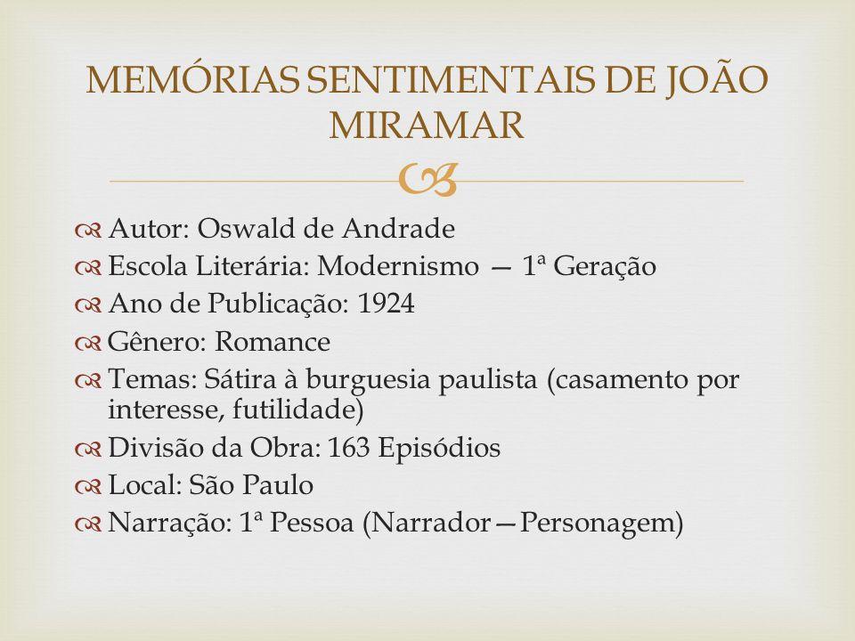 Autor: Oswald de Andrade Escola Literária: Modernismo 1ª Geração Ano de Publicação: 1924 Gênero: Romance Temas: Sátira à burguesia paulista (casamento