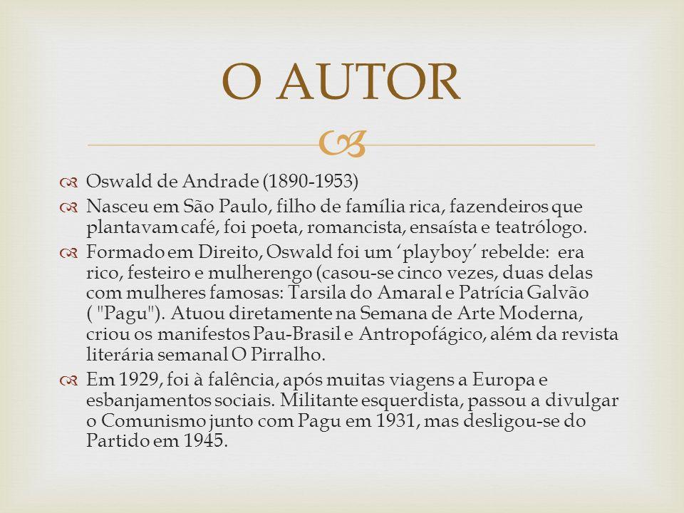 Oswald de Andrade (1890-1953) Nasceu em São Paulo, filho de família rica, fazendeiros que plantavam café, foi poeta, romancista, ensaísta e teatrólogo