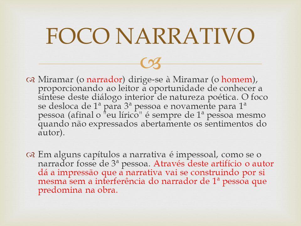Miramar (o narrador) dirige-se à Miramar (o homem), proporcionando ao leitor a oportunidade de conhecer a síntese deste diálogo interior de natureza p