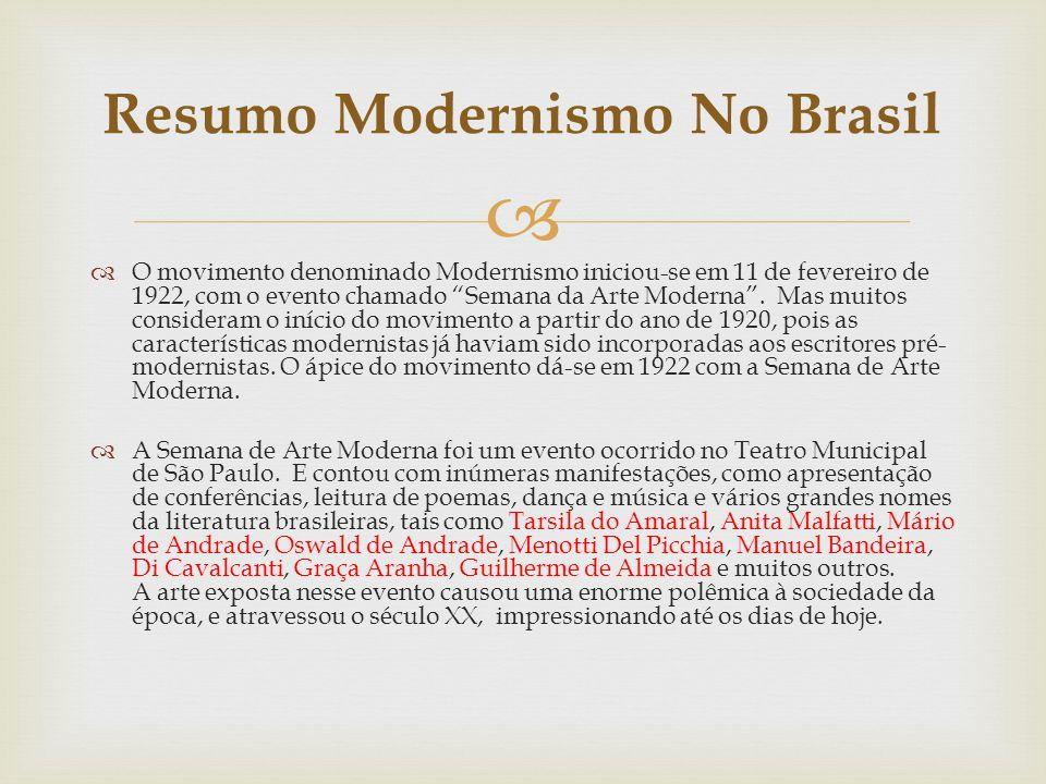 O movimento denominado Modernismo iniciou-se em 11 de fevereiro de 1922, com o evento chamado Semana da Arte Moderna. Mas muitos consideram o início d