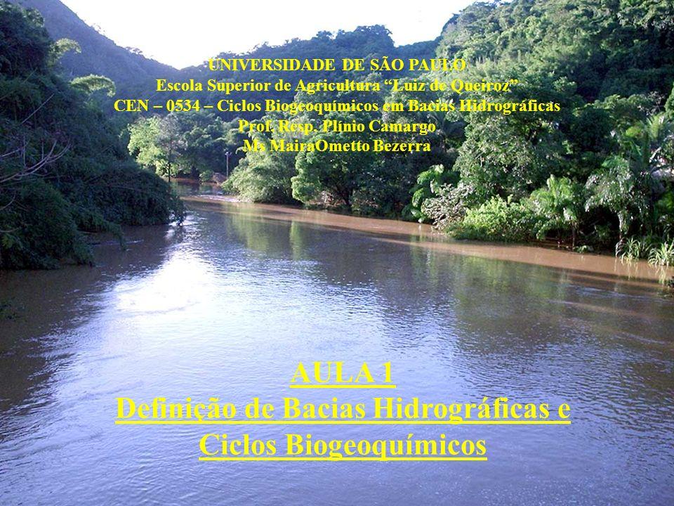 UNIVERSIDADE DE SÃO PAULO Escola Superior de Agricultura Luiz de Queiroz CEN – 0534 – Ciclos Biogeoquímicos em Bacias Hidrográficas Prof. Resp. Plínio