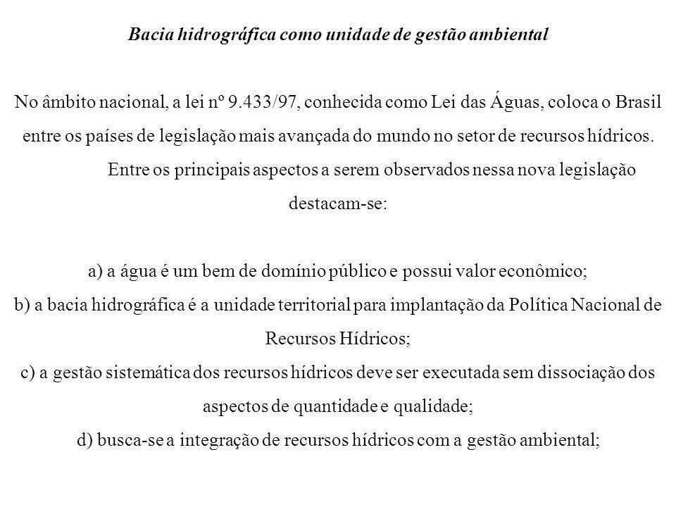 Bacia hidrográfica como unidade de gestão ambiental No âmbito nacional, a lei nº 9.433/97, conhecida como Lei das Águas, coloca o Brasil entre os país