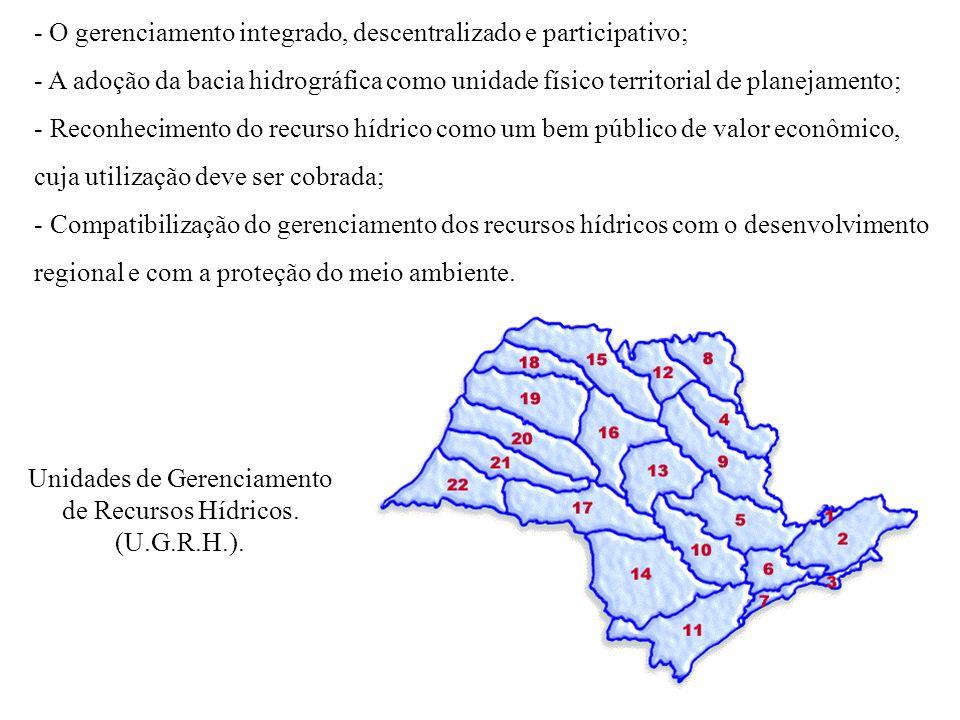 - O gerenciamento integrado, descentralizado e participativo; - A adoção da bacia hidrográfica como unidade físico territorial de planejamento; - Reco