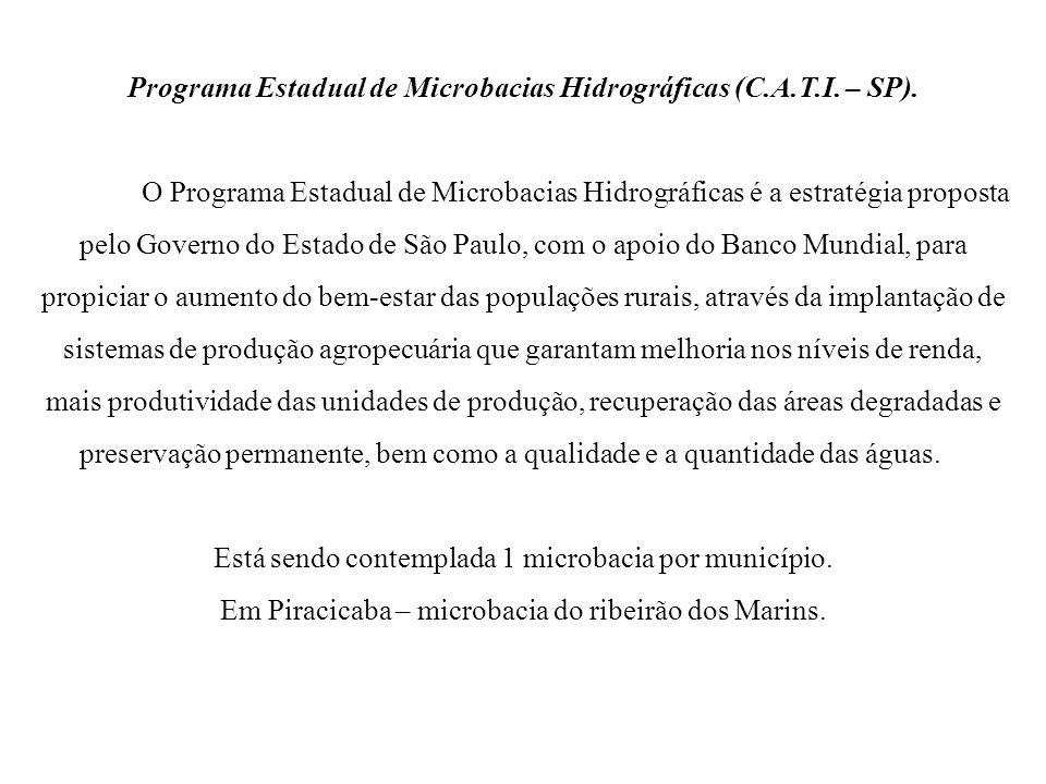 Programa Estadual de Microbacias Hidrográficas (C.A.T.I. – SP). O Programa Estadual de Microbacias Hidrográficas é a estratégia proposta pelo Governo
