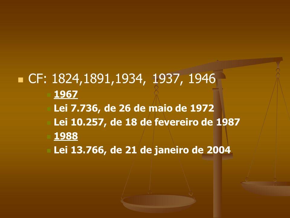 CF: 1824,1891,1934, 1937, 1946 1967 Lei 7.736, de 26 de maio de 1972 Lei 10.257, de 18 de fevereiro de 1987 1988 Lei 13.766, de 21 de janeiro de 2004