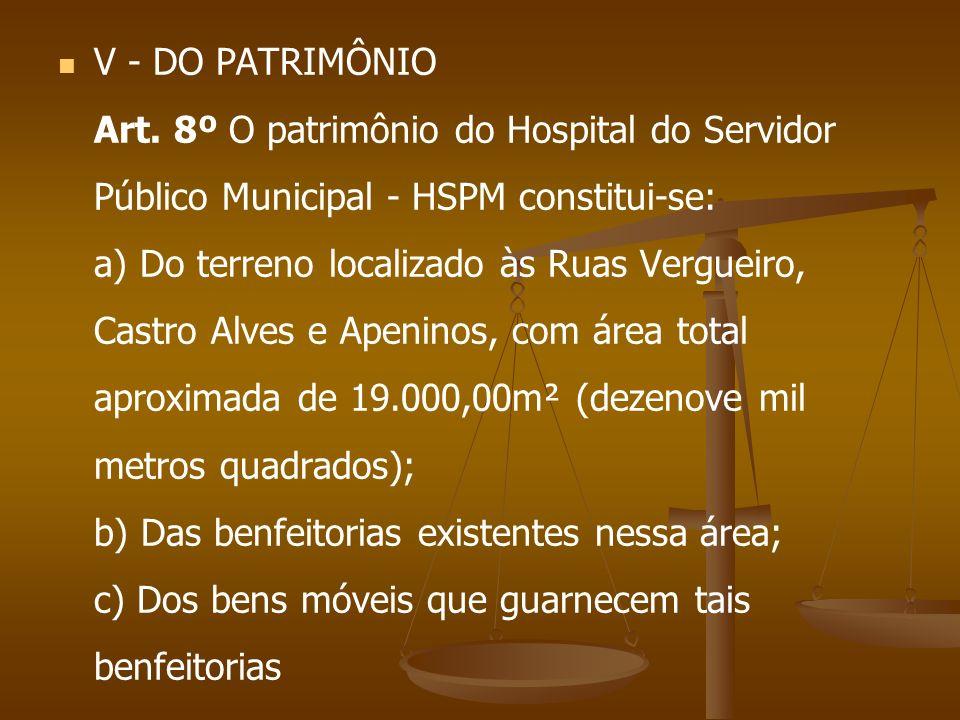 V - DO PATRIMÔNIO Art. 8º O patrimônio do Hospital do Servidor Público Municipal - HSPM constitui-se: a) Do terreno localizado às Ruas Vergueiro, Cast