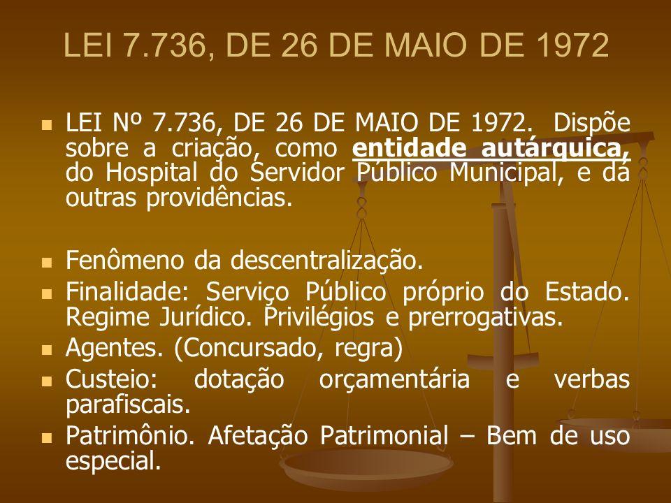 LEI 7.736, DE 26 DE MAIO DE 1972 LEI Nº 7.736, DE 26 DE MAIO DE 1972. Dispõe sobre a criação, como entidade autárquica, do Hospital do Servidor Públic