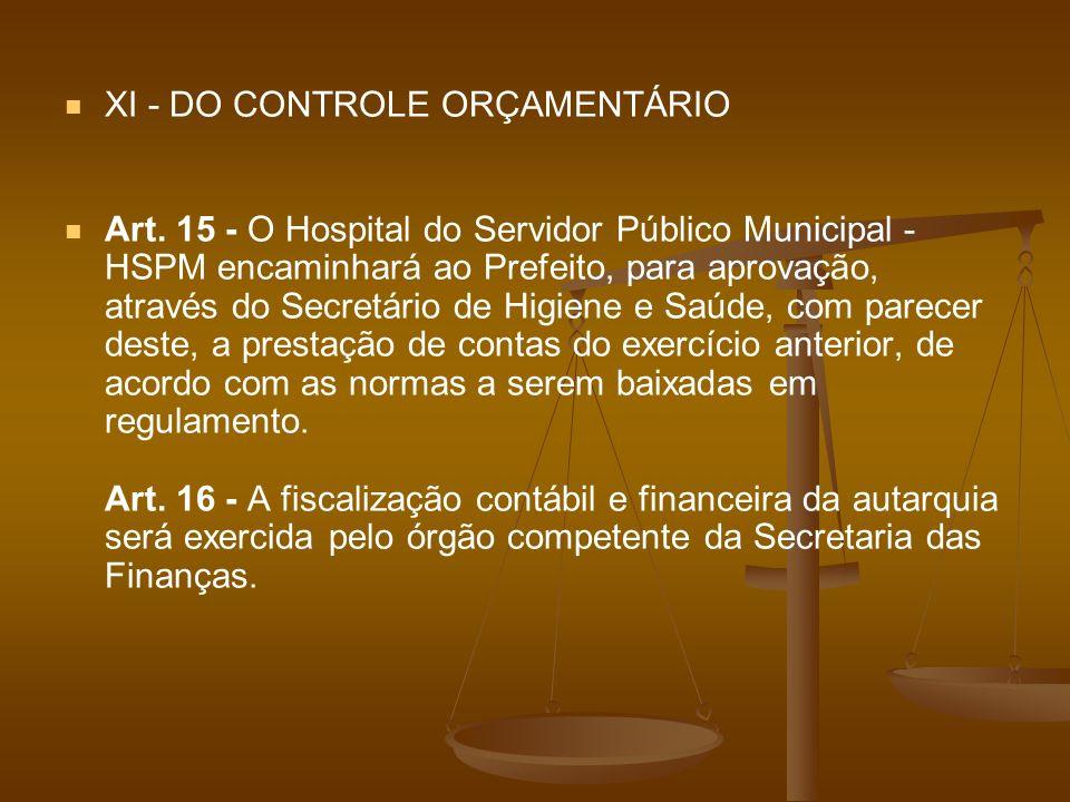 XI - DO CONTROLE ORÇAMENTÁRIO Art. 15 - O Hospital do Servidor Público Municipal - HSPM encaminhará ao Prefeito, para aprovação, através do Secretário